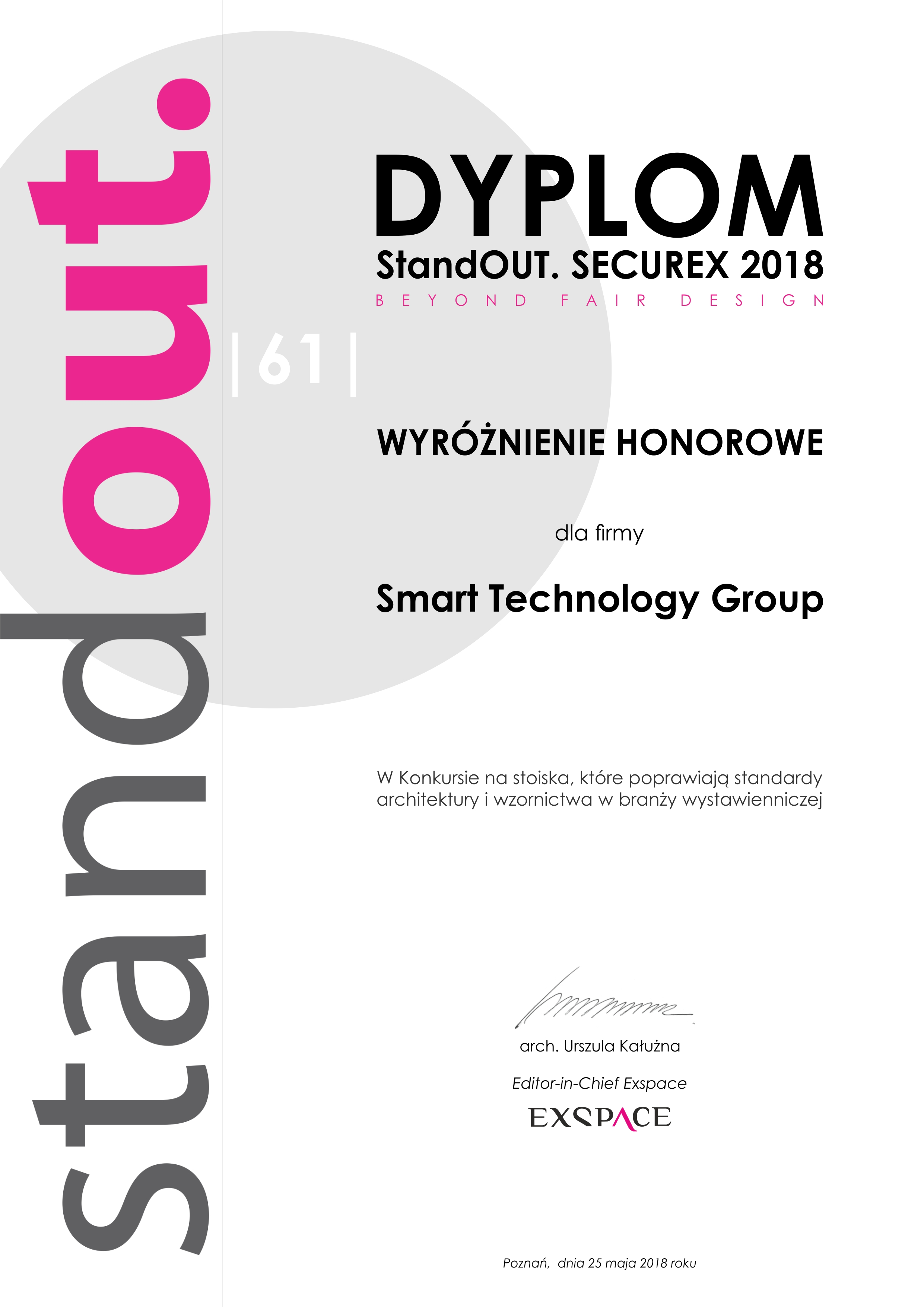 DYPLOM Smart Technology Group  StandOUT SECUREX 2018jpg
