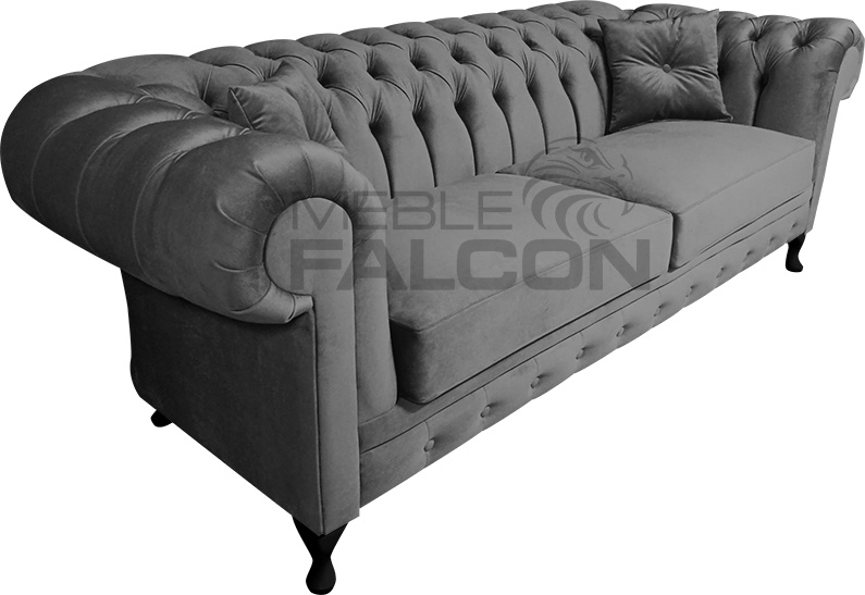 pikowana sofa szara producent mebli chesterfield