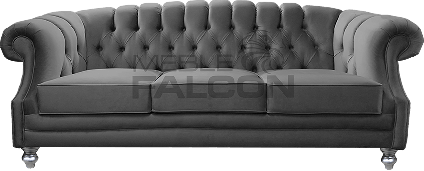 3-osobowa sofa chesterfield szara siwa producent