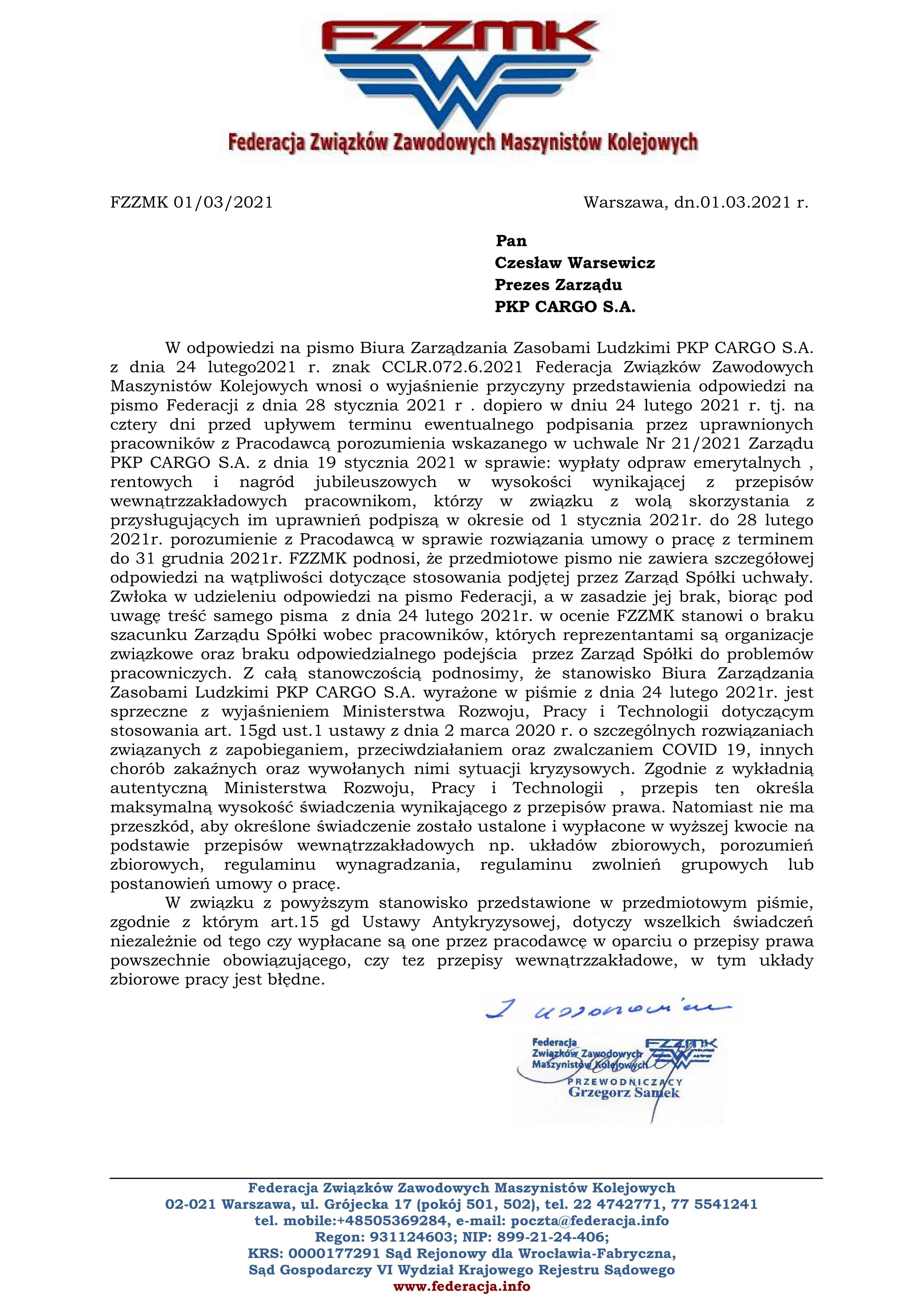 CARGO odprawy odpowied na pismo leniak  1032021jpg