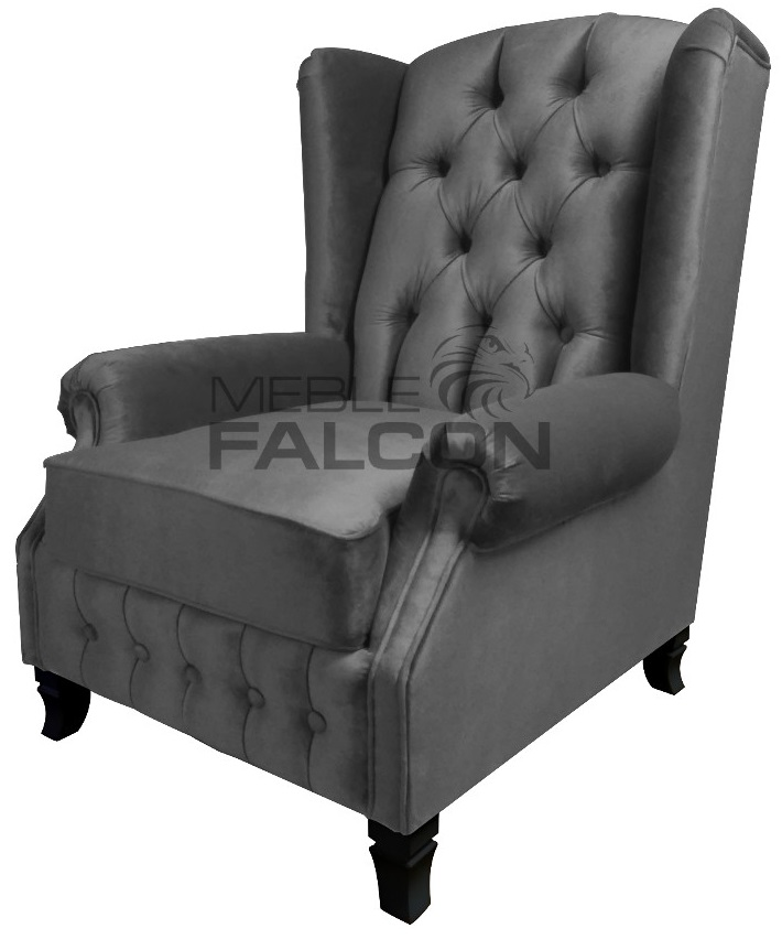 fotel chesterfield tapicerka plusz szary producent