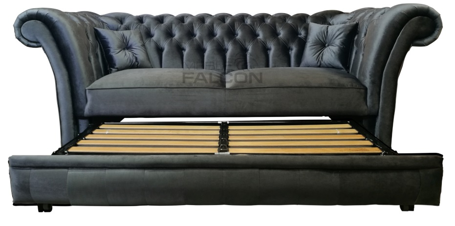 szara sofa chesterfield z funkcją spania producent