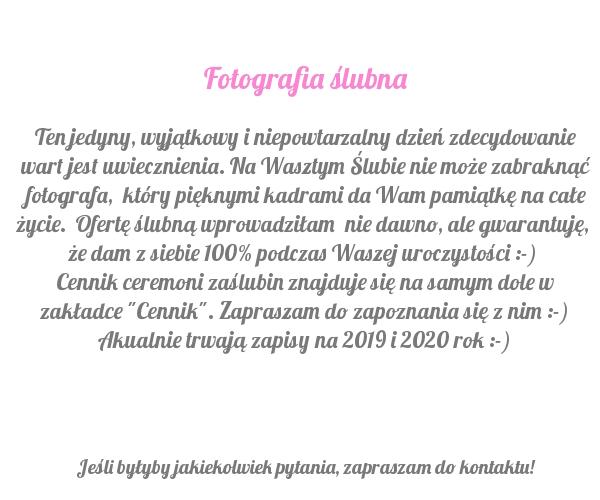 Fotografia ślubna I Plenerowa