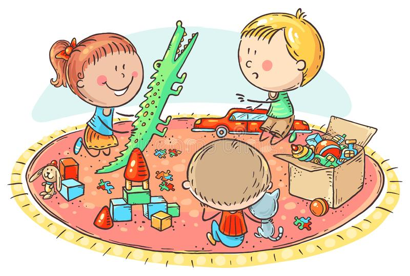 kids-playing-toys-carpet-colorful-vector-illustration-kids-playing-toys-carpet-159513267jpg