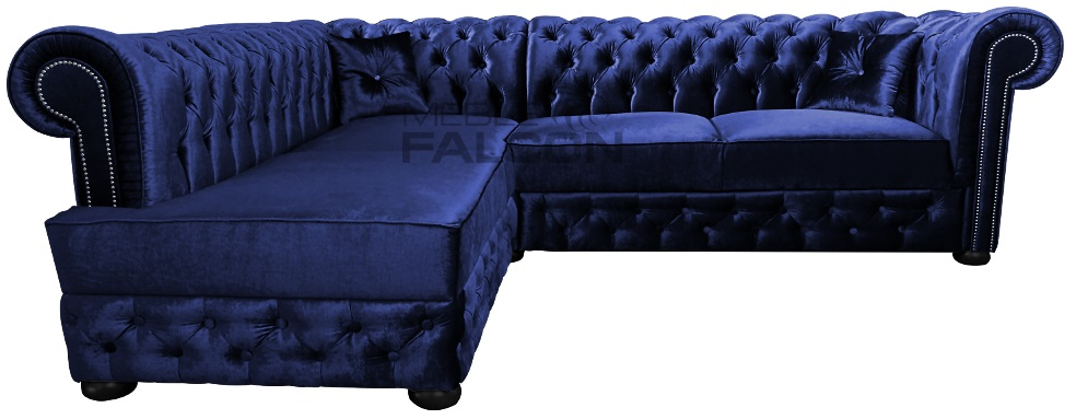 narożnik chesterfield poducent do salonu granatowy