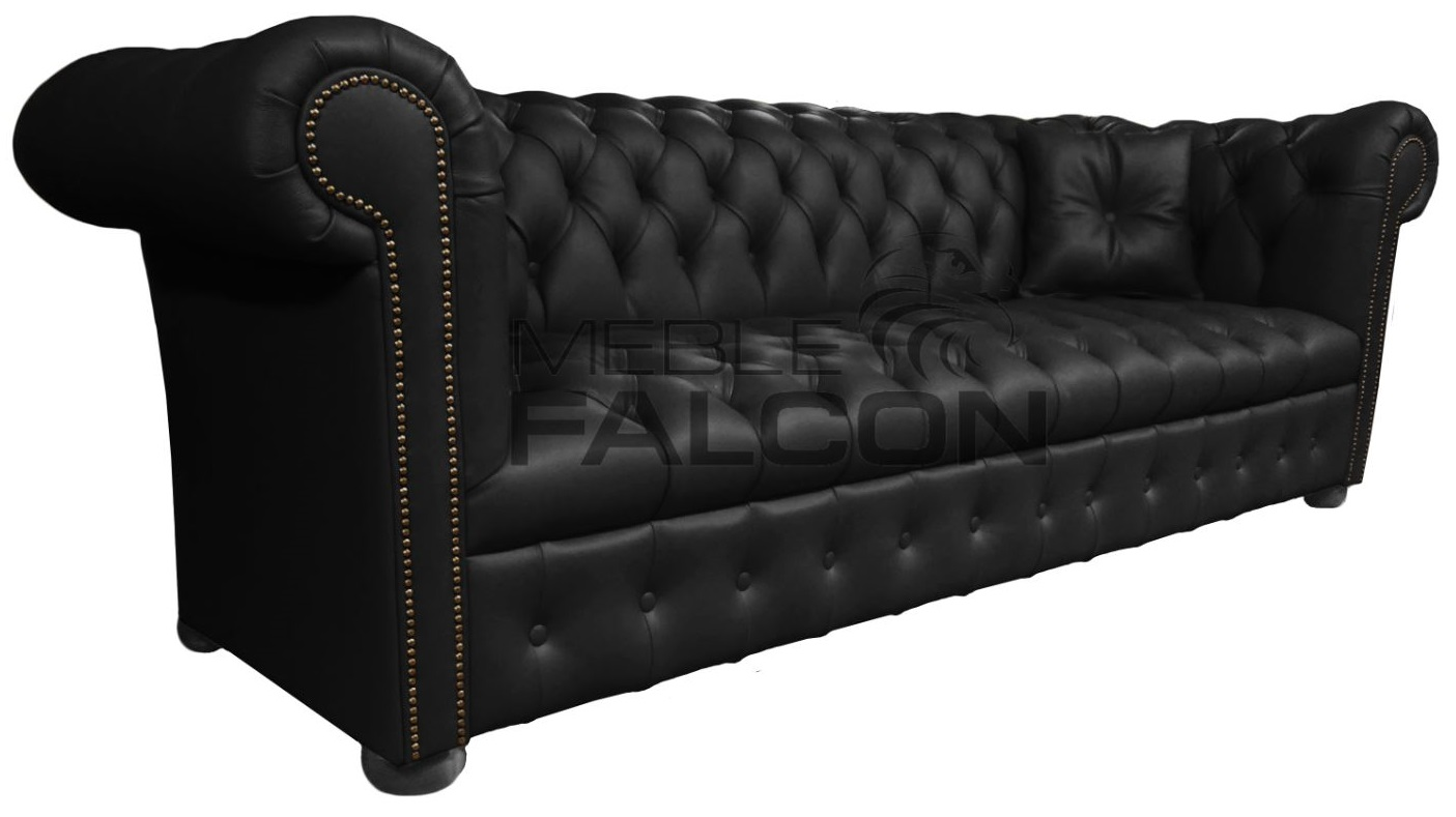 sofa chesterfield czarna skóra do gabinetu salonu