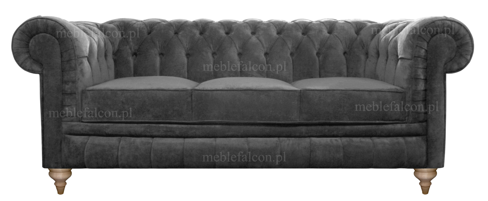 sofa chesterfield szara pluszowa