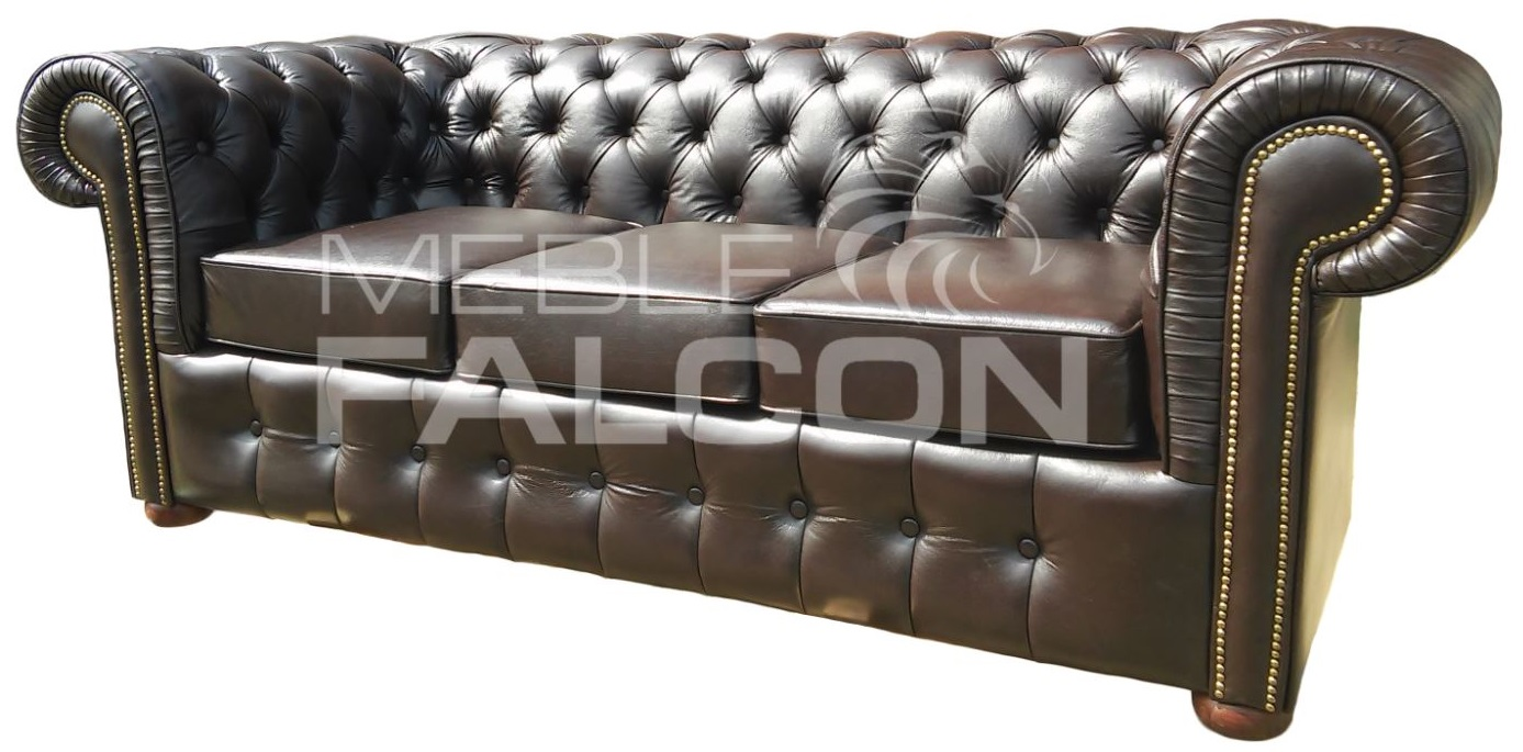 sofa chesterfield 3 osobowa do gabinetu biura domu