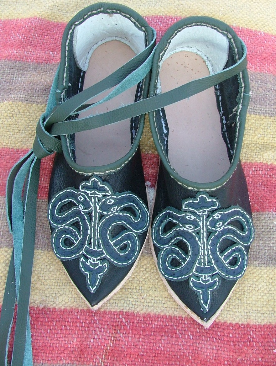 Lady's shoes with a snake ornament.