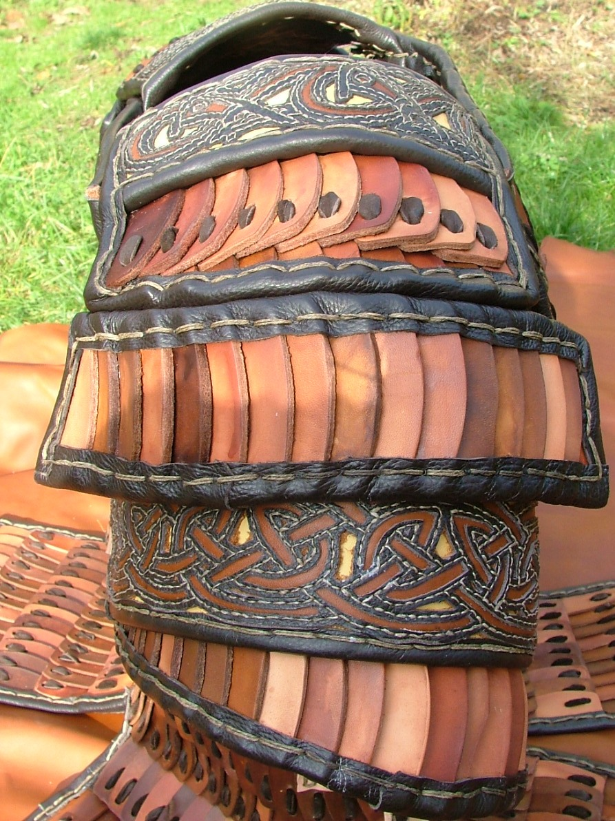 Medieval leather lamellar armour shoulder detail4.