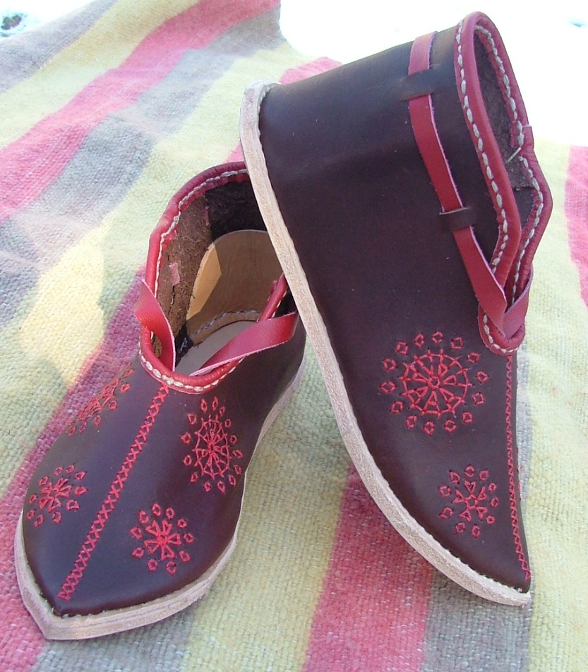 Embroidered leather shoes.