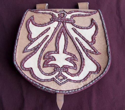 Medieval bag with a simple ornament.