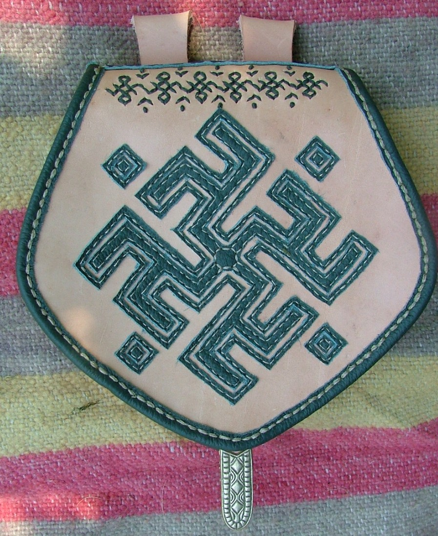 Lithuanian-style medieval leather bag.