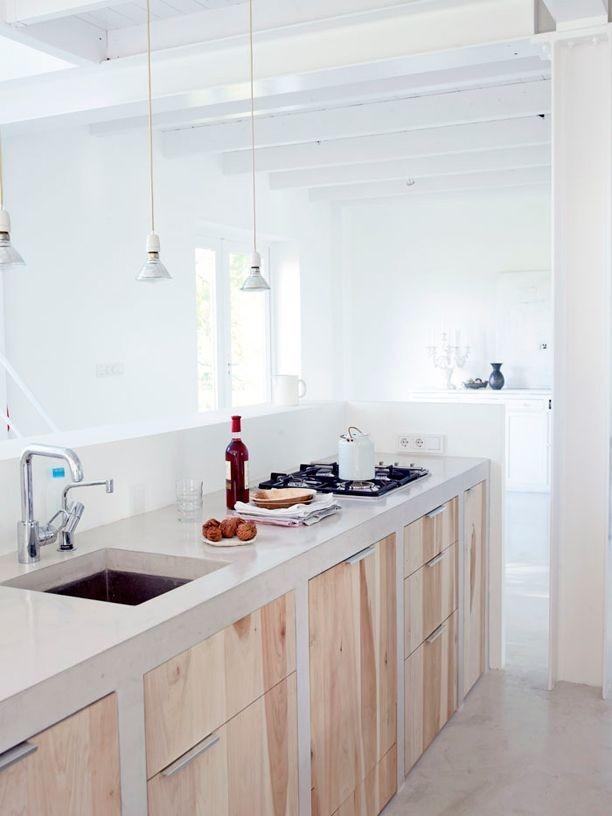 Drewno w kuchni -> Kuchnia Bialo Czarno Drewniana