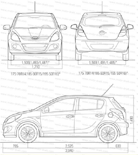 Hyundai I20 Exterior Dimensions Images