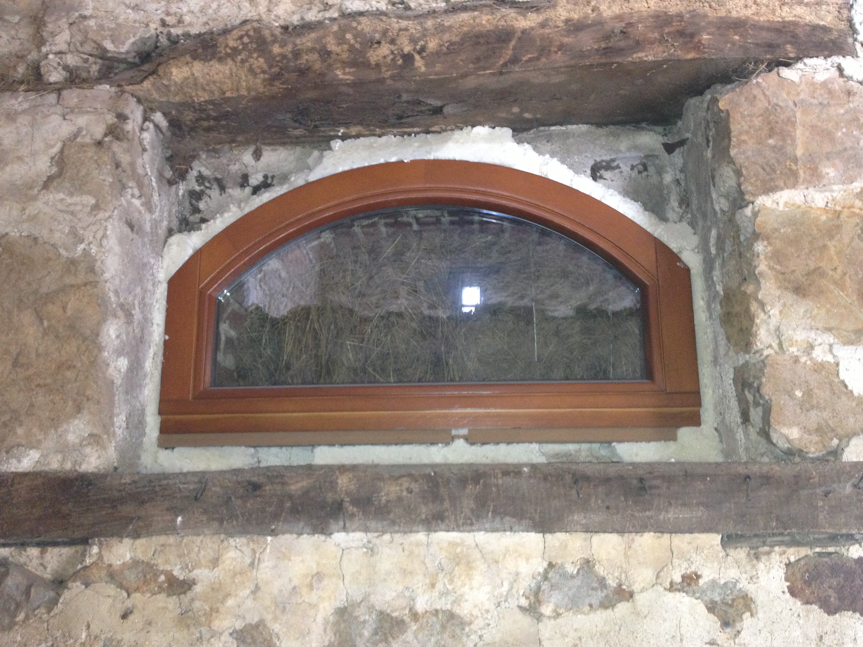 Arch wooden windows