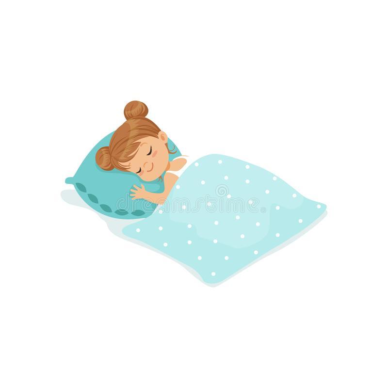 sweet-little-girl-sleeping-her-bed-cartoon-character-vector-illustration-isolated-white-background-sweet-little-girl-100644797jpg