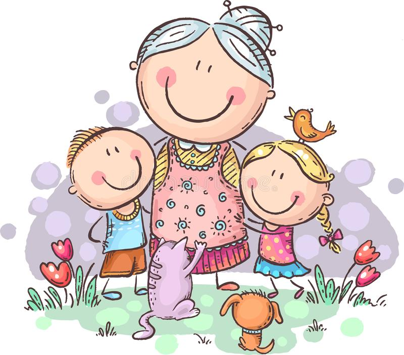 everyone-loves-granny-grandmother-grandchilren-pets-colorful-vector-clipart-no-gradients-146176953jpg