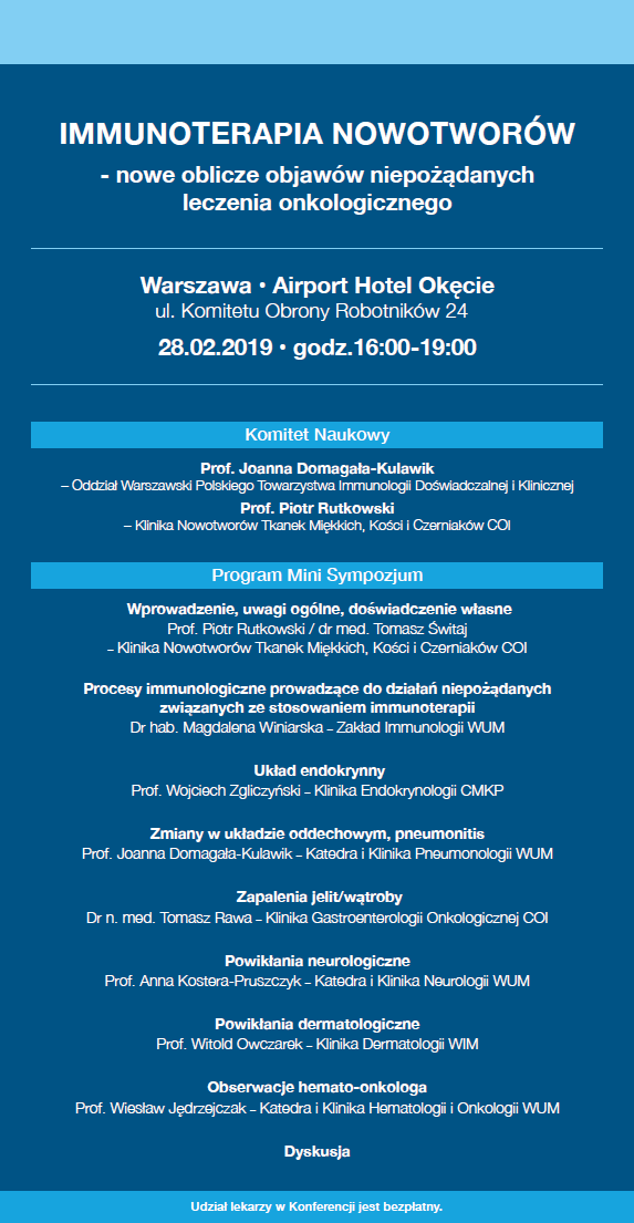 Mini Sympozjum Immunoterapia Nowotworw 2019 Warszawapng