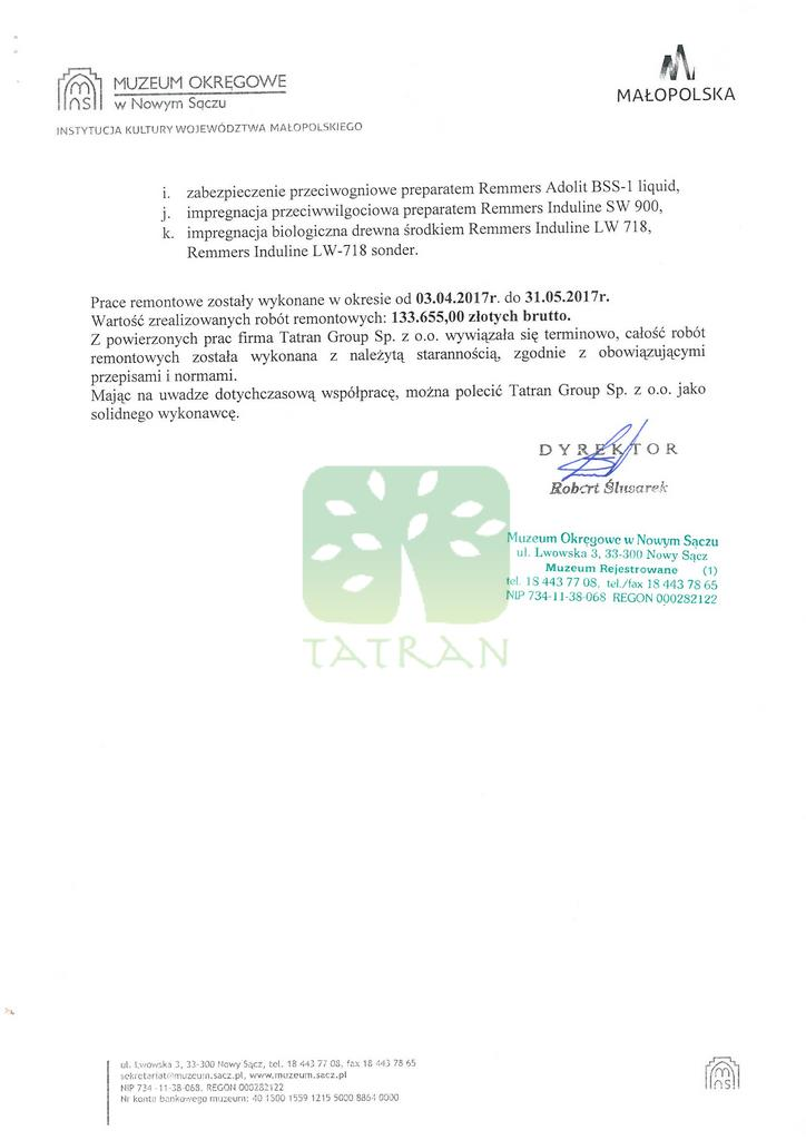 Referencje Tatran Group