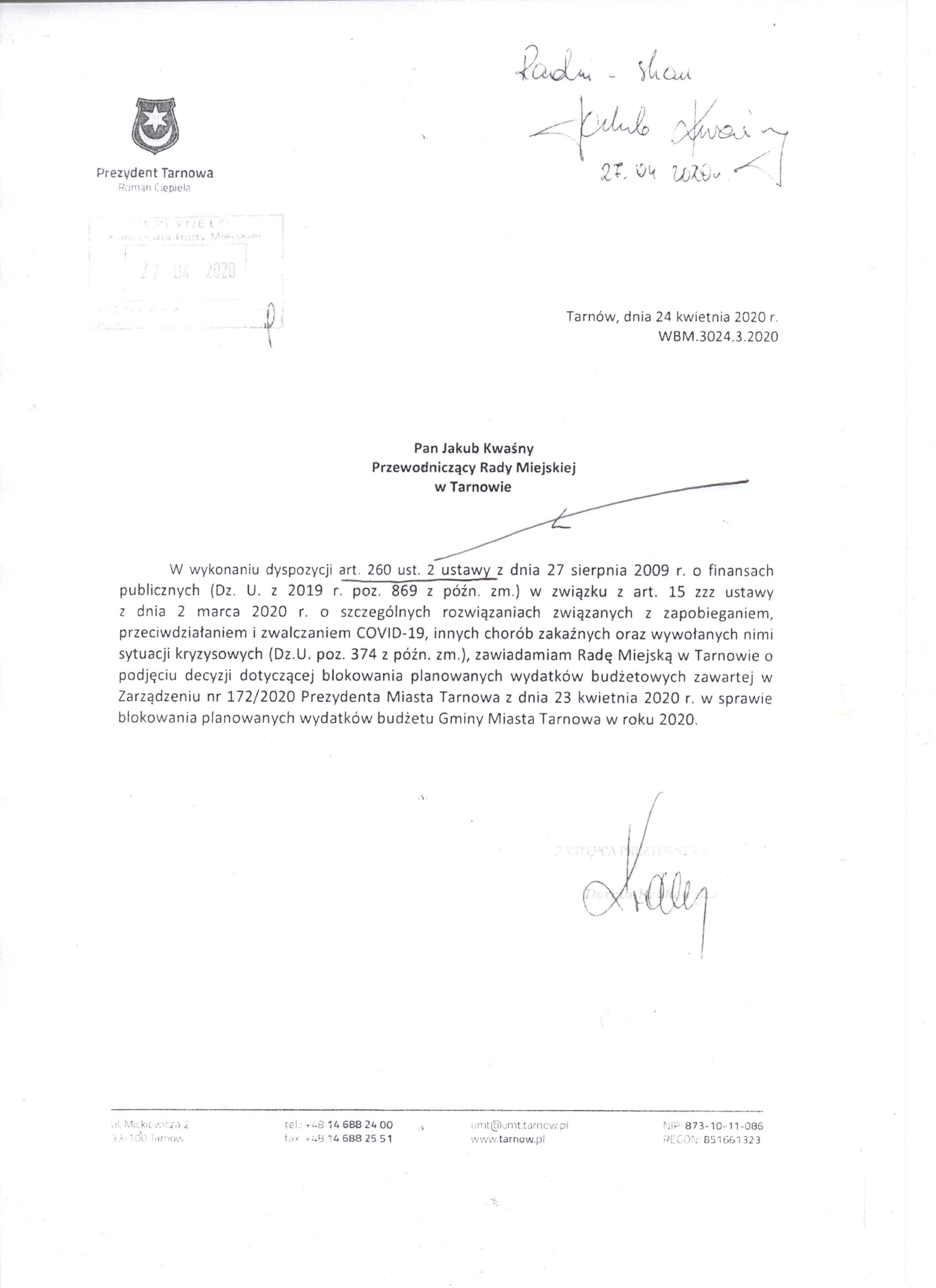 1  pismo Prezydenta  z 24 kwietnia wyslane przez p Kwasnego 27 kwietniajpeg