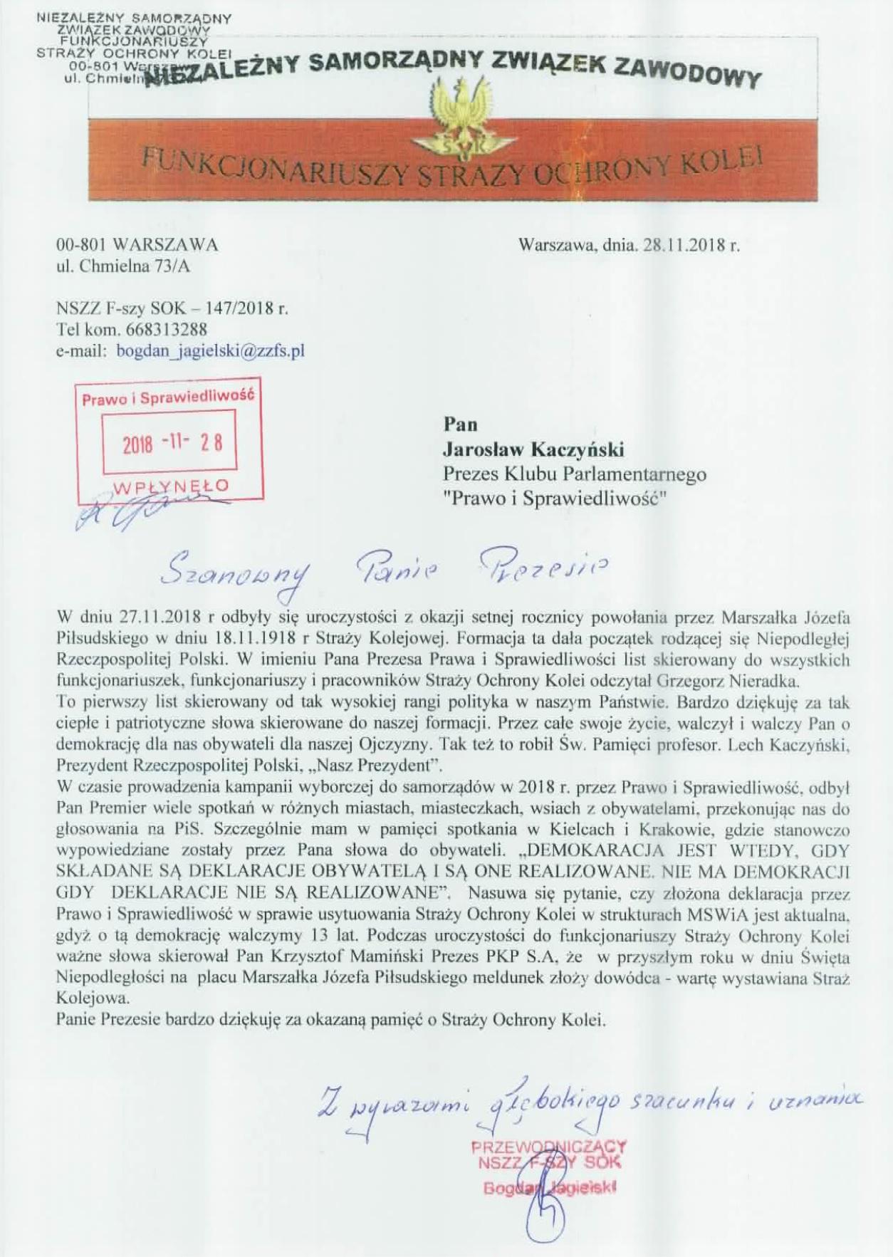 Pismo do Prezesa Kaczyskiegojpg