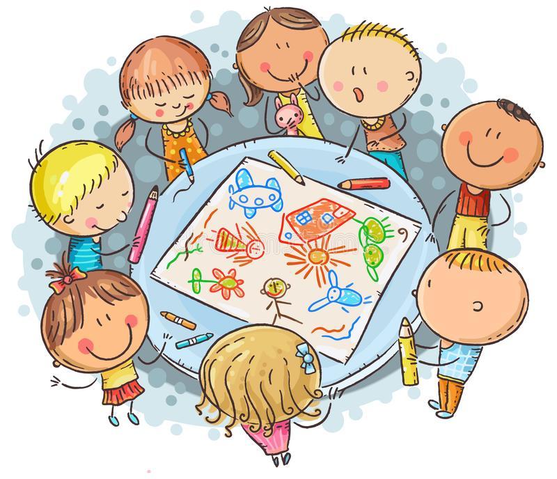 doodle-kids-drawing-together-little-preschoolers-round-table-large-sheet-paper-149085213jpg