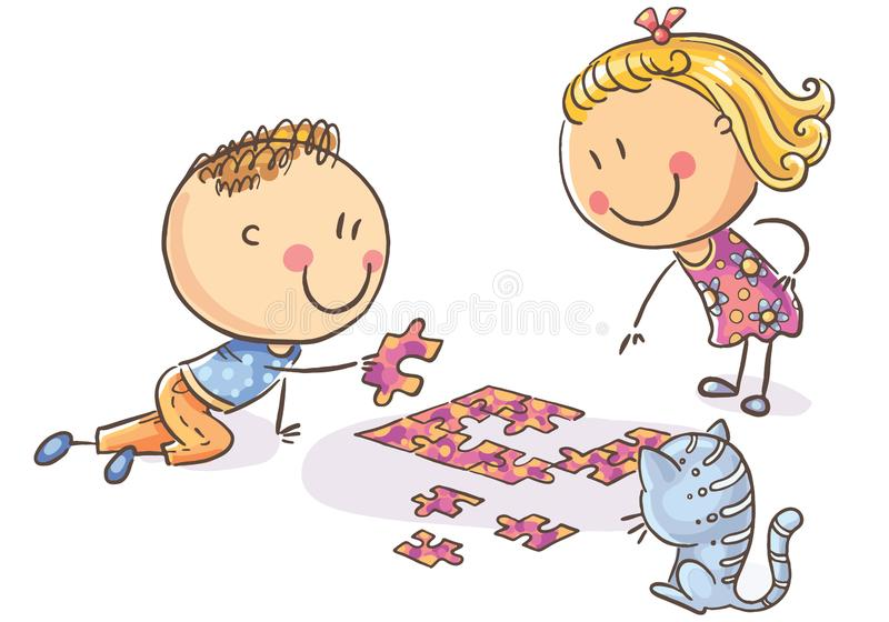 happy-cartoon-kids-trying-to-assemble-puzzle-happy-cartoon-kids-trying-to-assemble-puzzle-vector-illustration-125402117jpg