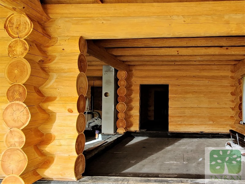 Miroszewo - biological and fireproofing impregnation of larch log beams 1068,88m2