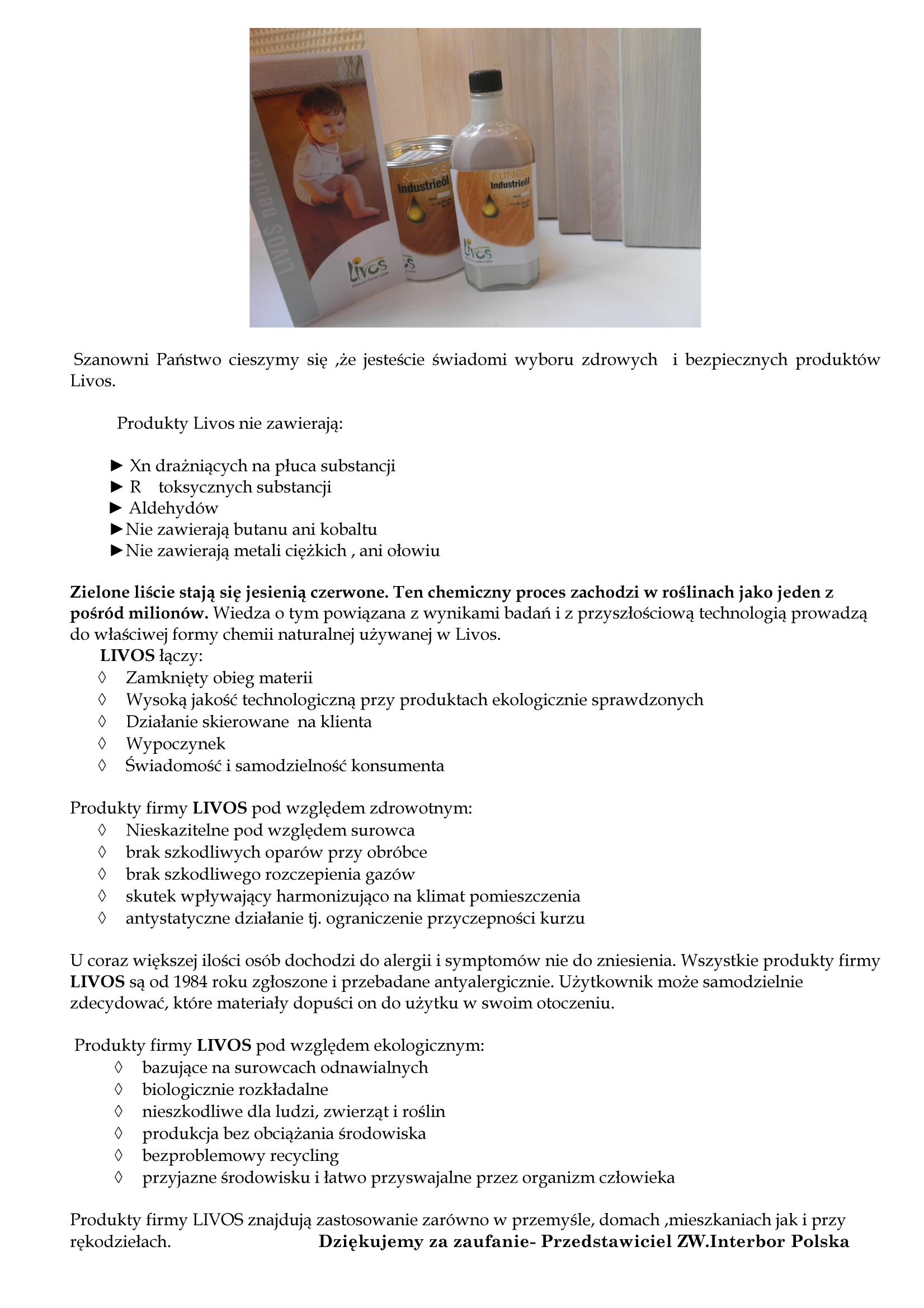 Livos zdrowe i bezpieczne produkty nie dranice